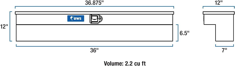 UWS TBSM-36-BLK Black 36 Single Lid Side Mount Tool Box with 2 Padded Handles