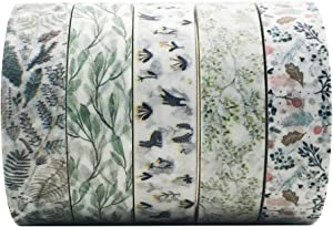 5 Rolls Vintage Floral Washi Tape Set, EnYan Japanese Masking Decorative Tapes for DIY Crafts and Arts Bullet Journal Planners Scrapbooking Adhesive