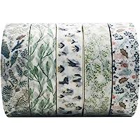 5 Rolls Vintage Floral Washi Tape Set, EnYan Japanese Masking Decorative Tapes for DIY Crafts and Arts Bullet Journal…