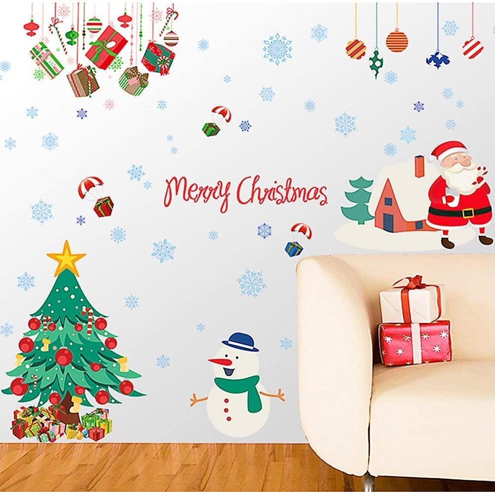 Cute Christmas Sticker Window Removable Santa Snowman Decal New Year Glass Decor
