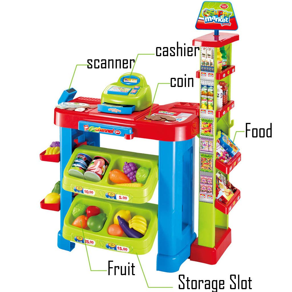 Supermarket Pretend Toy Cash Register Pretend Toy with Sound and Light ,Fun Super Market Pretend Play Toy ,Holiday Birthday Gift ,Kids Educational Creative Toys,Simulation Game Supermarket by lUKSY US-Direct (Image #3)