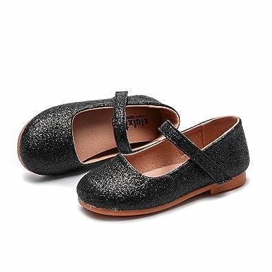 a6f659a7ec6 pit4tk Children Dress Shoes Girls Princess Sandals Kids Wedding Shoes Party  Shoes for Girls(Black