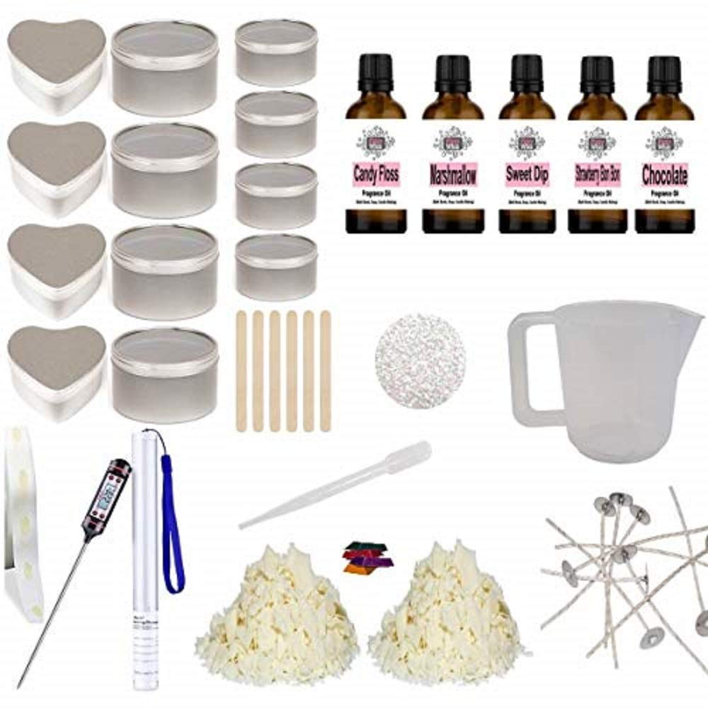 Eco Soy Candle Making Kit 14 - Beginner Starter Set Tins Glitter Sweet Fragrance Oil & Colour NA