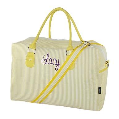 Personalized Yellow Seersucker Womens Overnight Duffle Bag f19eb9765718d