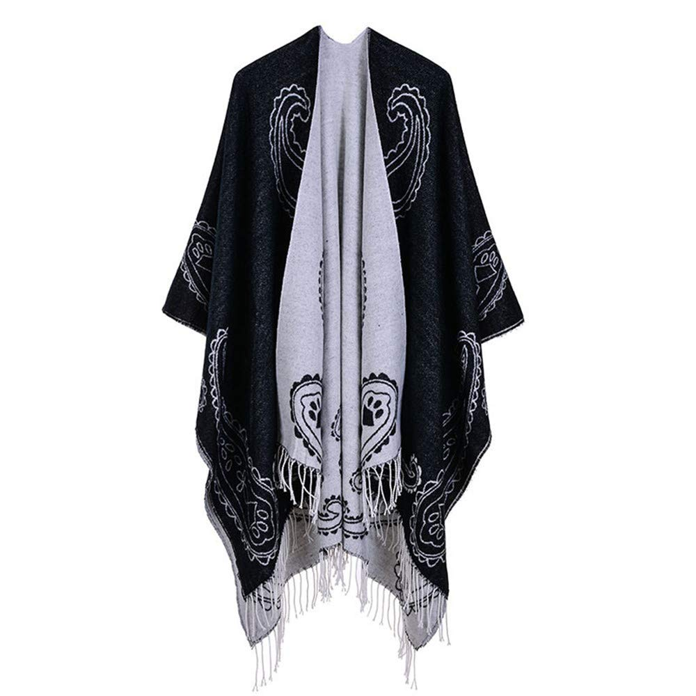 Black Women Lady Girl Women's Printed Tassel Open Front Poncho Cape Cardigan Wrap Shawl Party Lightweight Scarf (color   Red)