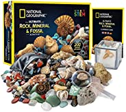 NATIONAL GEOGRAPHIC Rocks & Fossils Kit – 200 Piece Set Includes Geodes, Real Fossils, Rose Quartz, Jasper