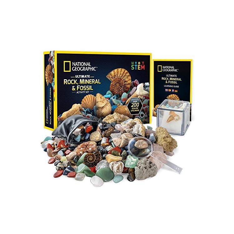 National Geographic Rocks and Fossils Kit – 200 Piece Set Includes Geodes, Real Fossils, Rose Quartz, Jasper, Aventurine…