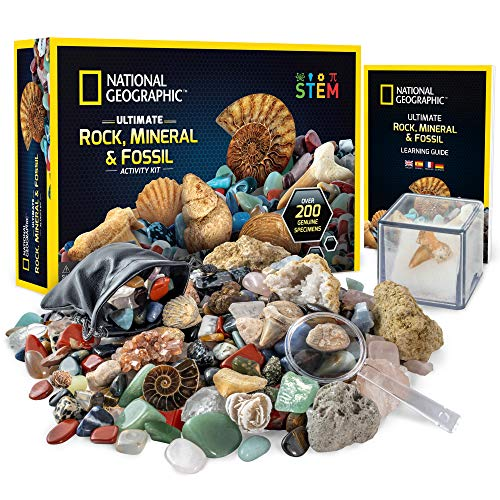 NATIONAL GEOGRAPHIC Rocks & Fossils Kit - 200 Piece Set Includes Geodes, Real Fossils, Rose Quartz, Jasper, Aventurine, & Many More Rocks, Crystals & Gemstones