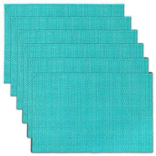 (CAIT CHAPMAN HOME COLLECTION Texture Design PVC Woven Placemat (Aqua), Set of 6)