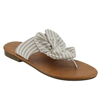 3a24d2524743 Nature Breeze EM13 Women s Striped Backless Bow Thong Flip Flop Flat Sandals