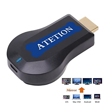 bdd0a8e6e75 ATETION WiFi Display TV Dongle Receptor 1080P Fácil uso Transmisión  inalámbrica con TV Stick para dispositivos iOS   Android   Mac a HDTV   Amazon.es  ...