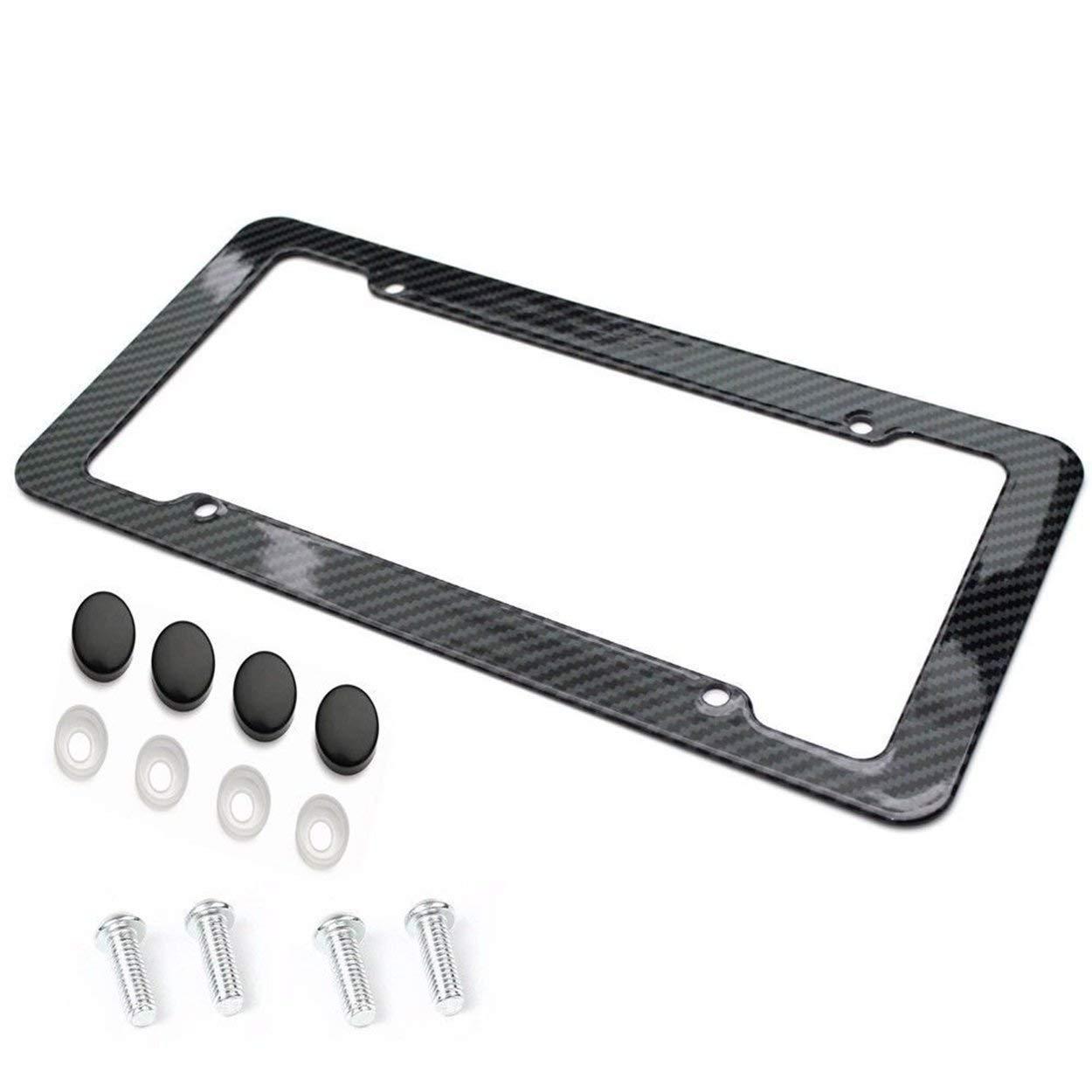License Plate Frame Carbon Fiber Plastic License Plate Frame Bracket with Standard Screw Kits Universal Fit for Cars