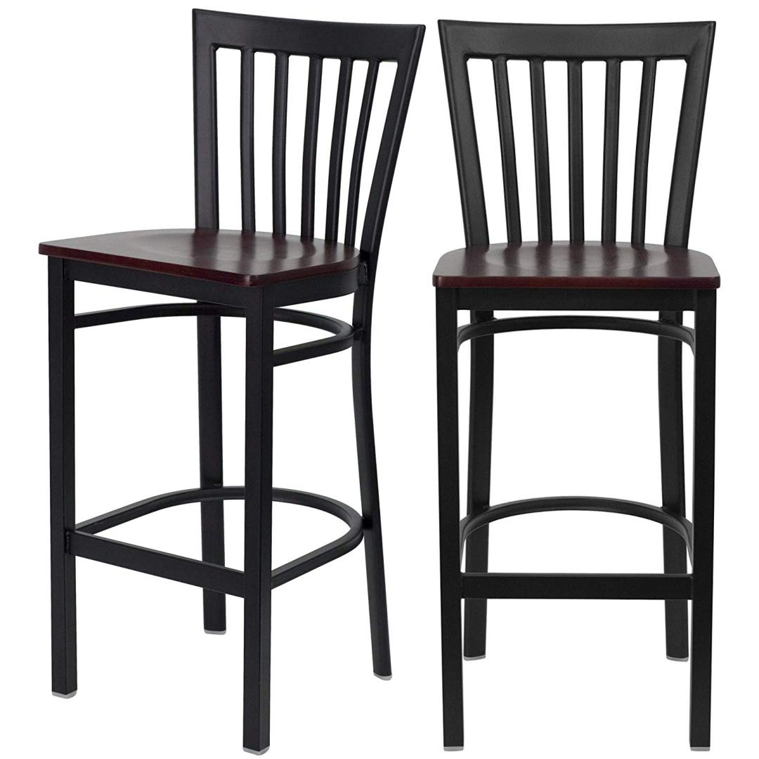 Set of 2 Modern Style Dining Bar Stools Pub Lounge Diner Restaurant Commercial Seats Vertical School House Back Design Black Powder Coated Frame Finish Home Office Furniture - Mahogany Wood Seat #2232