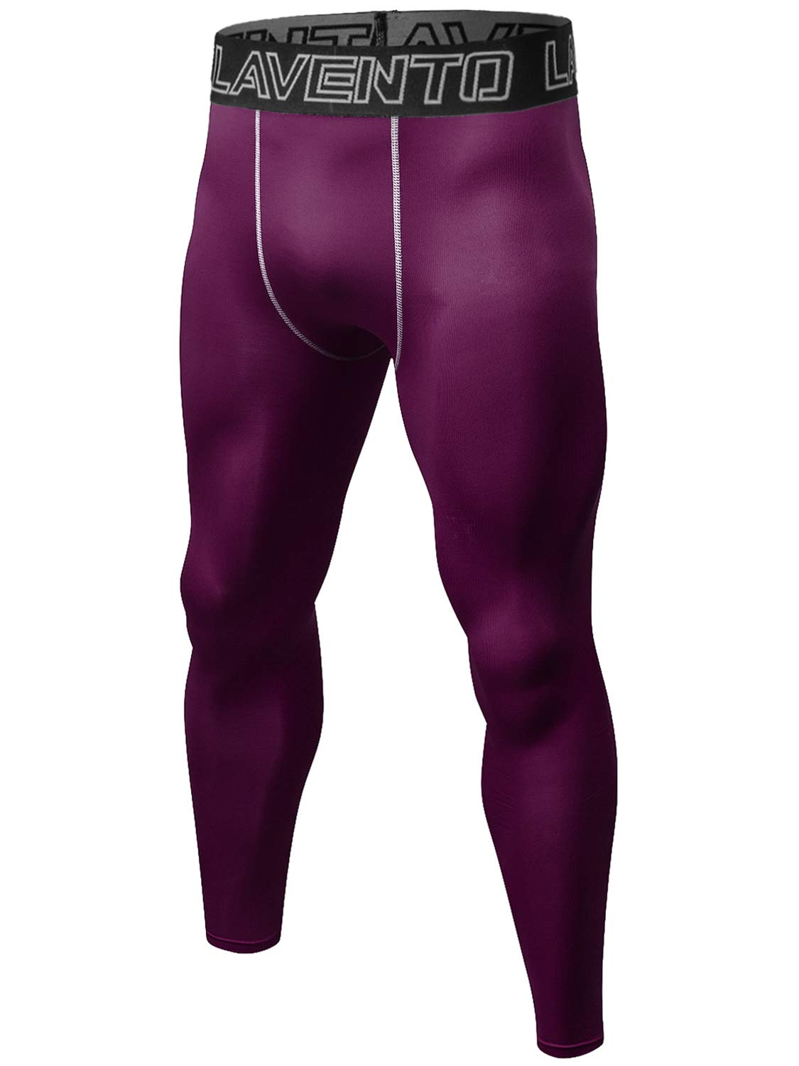Lavento Men's Compression Pants Cool Dry Workout Tights (1 Pack-L1010 Wine red,Large) by Lavento
