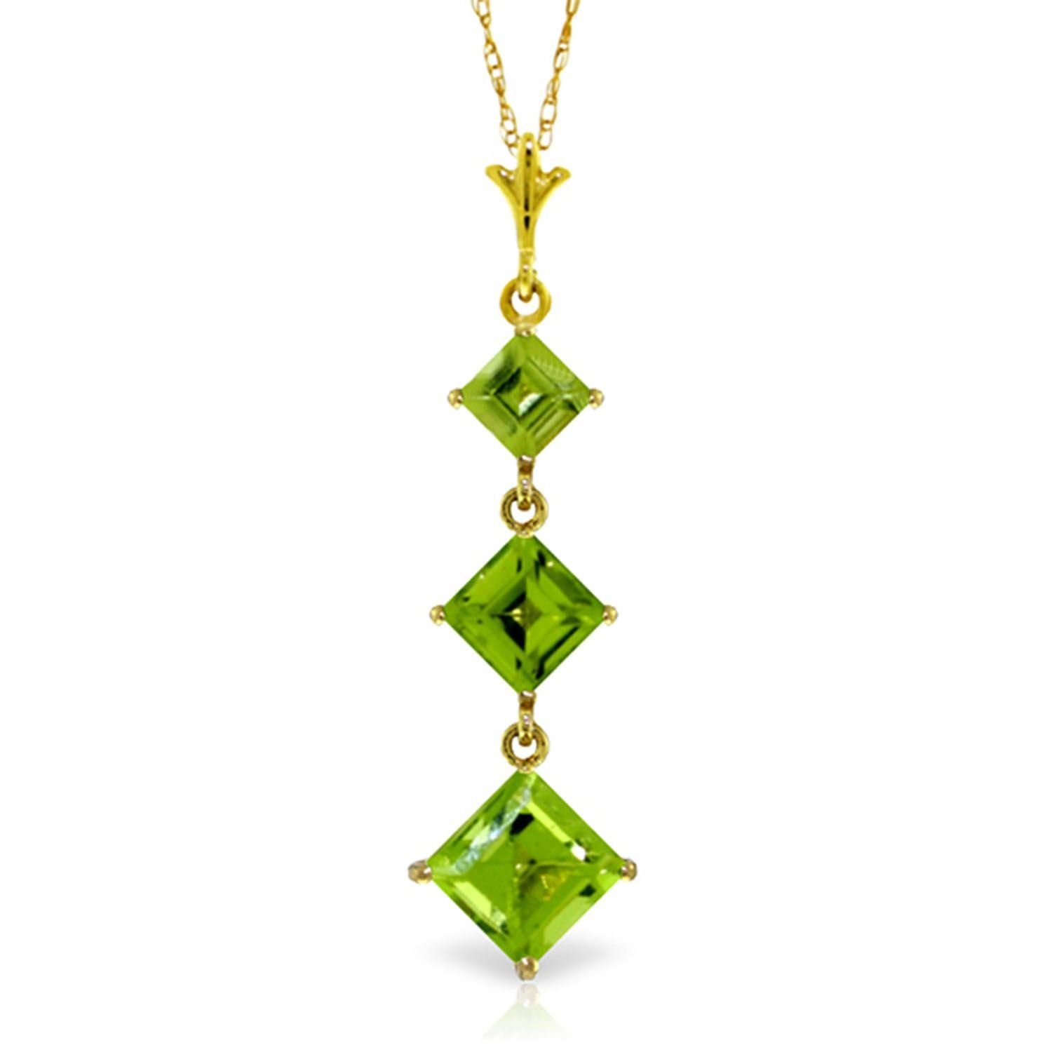 ALARRI 2.4 CTW 14K Solid Gold Seal Your Love Peridot Necklace with 18 Inch Chain Length