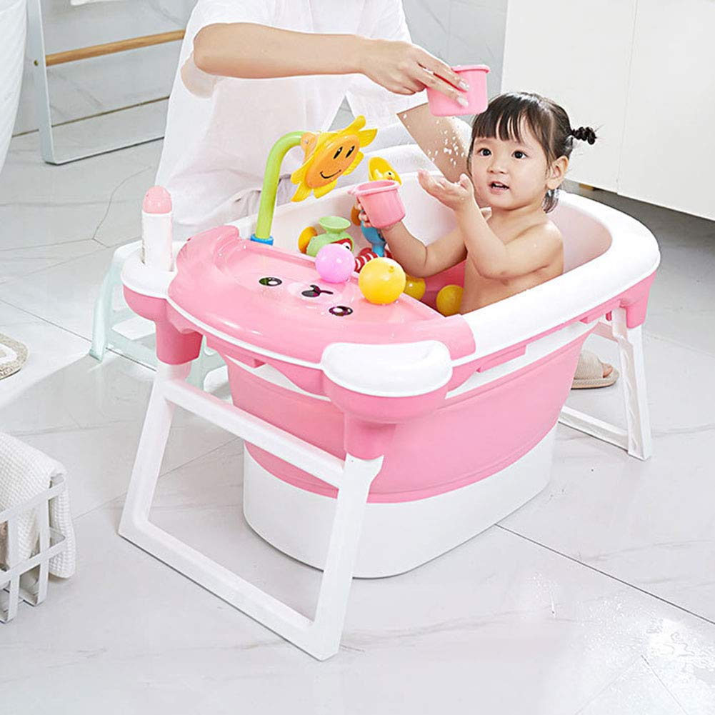 QWER-TYU Bear Pattern Foldable Bathtub, Multi-Function Portable Safe and Environmentally Friendly Baby Child Newborn Bath, (0-15 Years Old),Blue by QWER-TYU