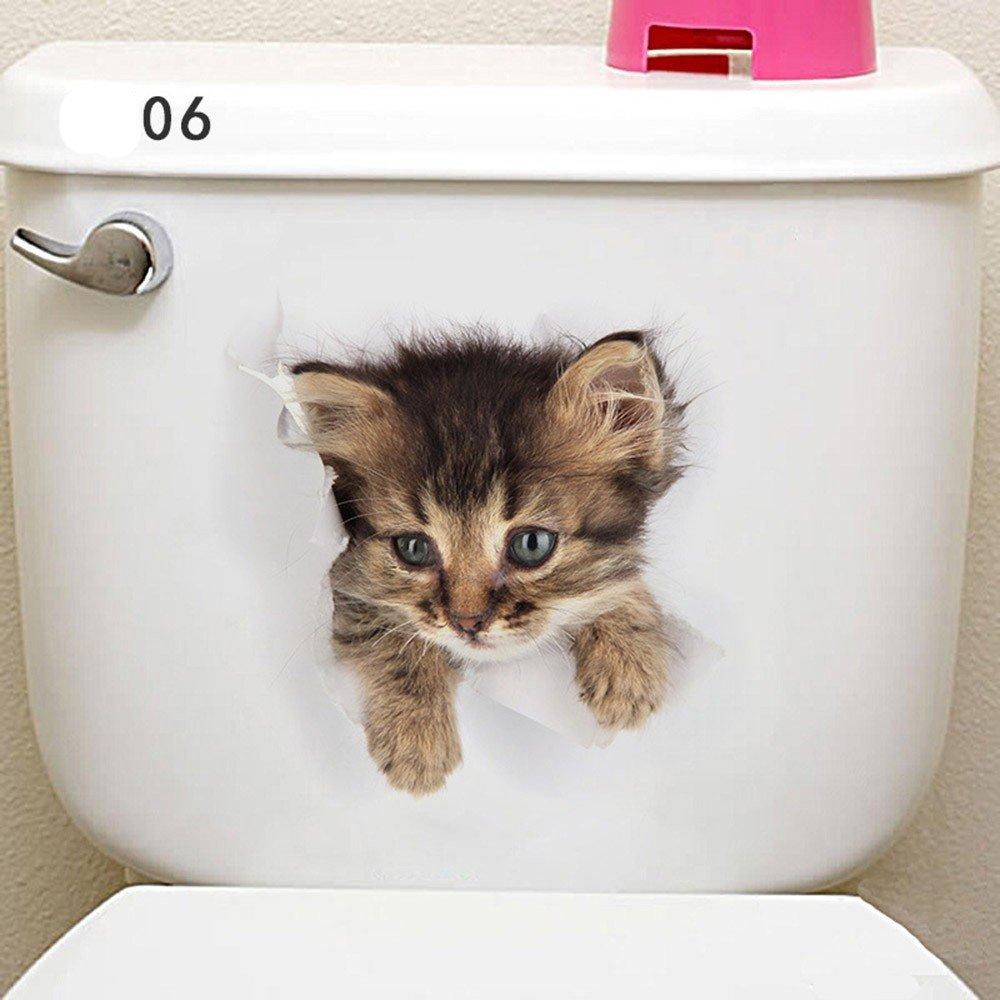 01 Carino 3D nuovo gatto adesivo parete wc figurine casa decorazione parete decalcomanie Bambini Camera da letto impermeabile Frigorifero Home Decor