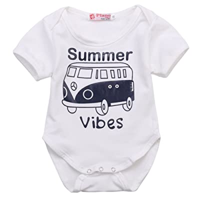 Summer Vibes Baby Funny Bodysuits Short Sleeve Rompers Infant Overalls