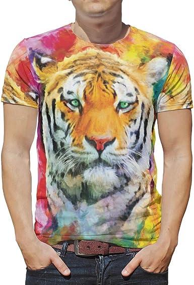 Camiseta para Hombre con Estampado de Acuarela, Tigre ...