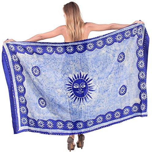 La Leela rayón suave la playa de baño encubrir sarong pareo batik mano 78x42 pulgadas Azul Encantada