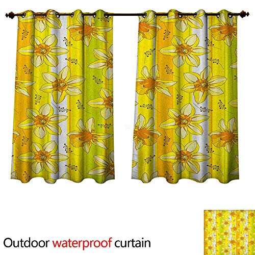 Jonquil Sheer - Anshesix Yellow Flower Outdoor Curtains for Patio Sheer Floral Spring Narcissus and Daffodil Jonquil Blooms Striped Backdrop W55 x L45(140cm x 115cm)