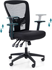 PHI VILLA Office Chair with High Back,3 Adjusters for Height,Back and Rocking,Home Office Desk Chairs with Wheels and Armrest for Women,Men,Short People and Heavy People,Max Laod Bearing up to 300 lbs