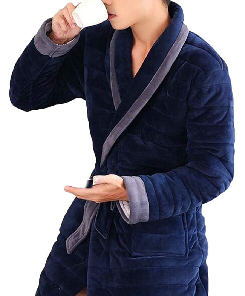 CBTLVSN Men Winter Warm Flannel Long Robe Thicken Coral Quilted Robes