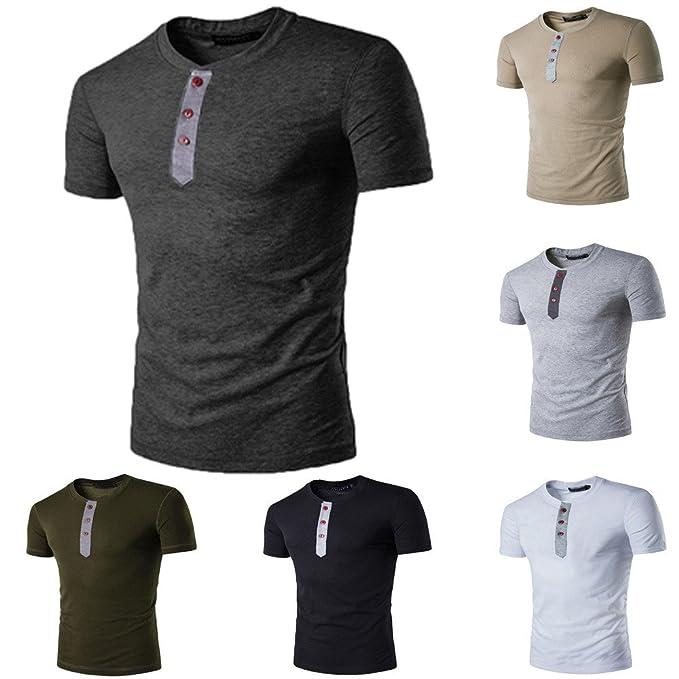 82a9db9f52ad9 Camisas Hombre Lanskirt BáSica Camiseta para Hombres Blusa de Manga Corta  con Cuello Redondo y Tops con Botones Sudaderas Chalecos de Verano Shirt  Polos ...