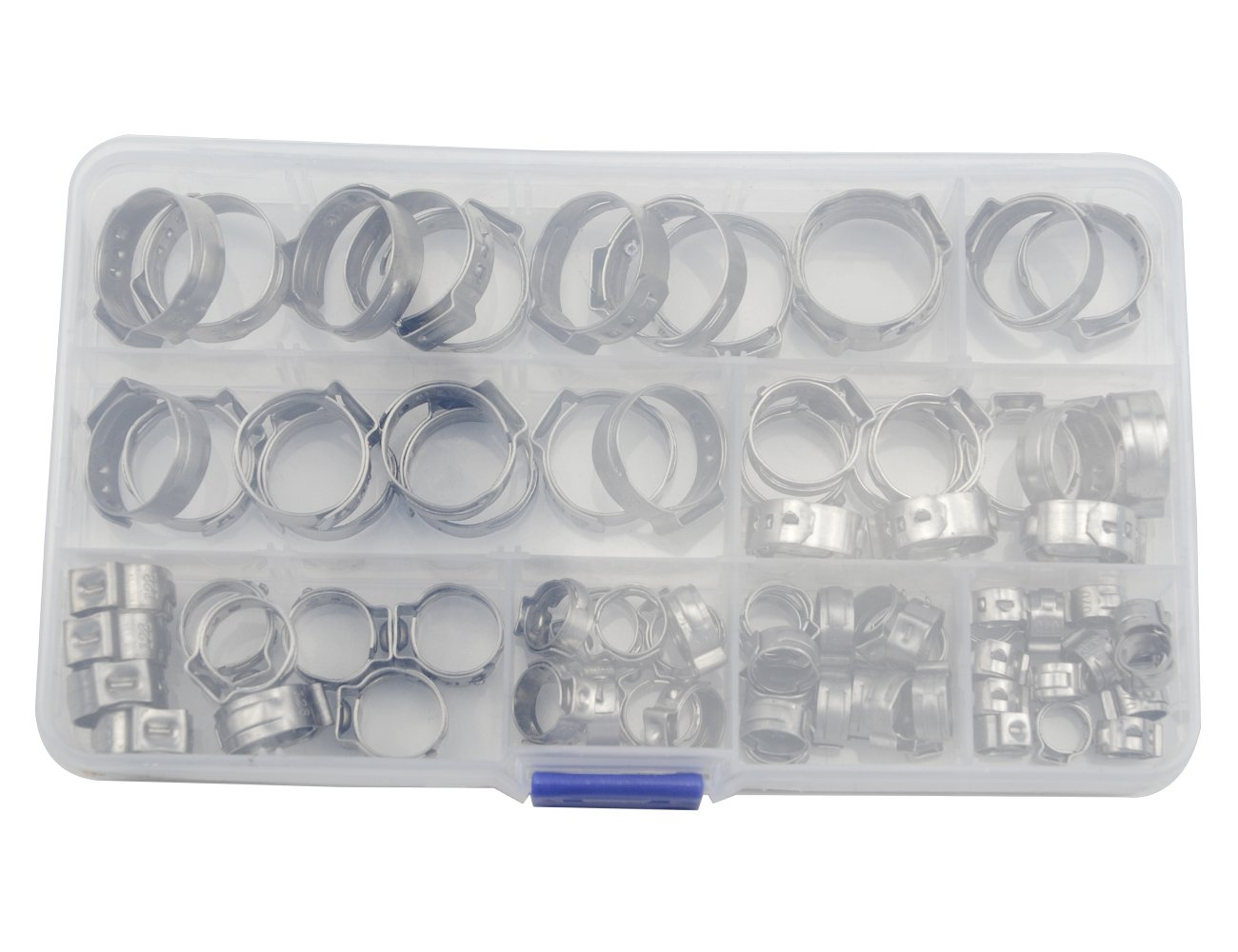 WGCD 80 PCS Stainless Steel Single Ear Hose Clamps with Ear Clamp Pincer Kit, 7-21mm