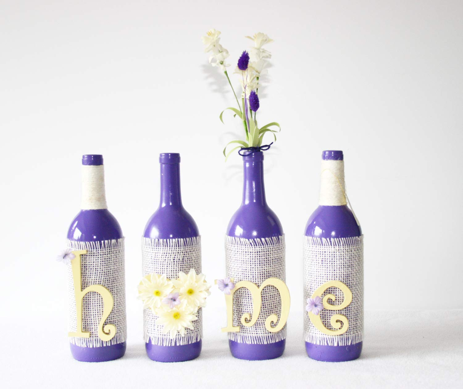 Decorated Wine Bottles Home Script Display Purple And Yellow Altered Bottle Handmade Vase Home Decor Centerpiece Floral Handmade