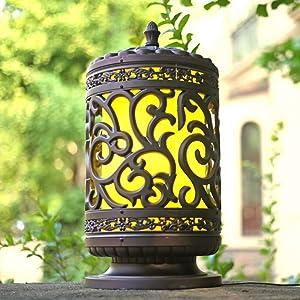 DULG Outdoor IP65 Waterproof Wall Courtyard Column Light Glass Aluminium Die-Casting Bronze Pillar Lantern Home Lighting Victoria Retro Post Pole Lamp Terrace Entrance Landscape Street Light