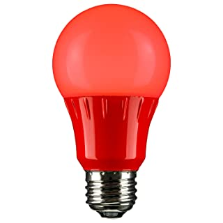 Sunlite 80148 Red LED A19 3 Watt Medium Base 120 Volt UL Listed LED Light Bulb, last 25,000 Hours