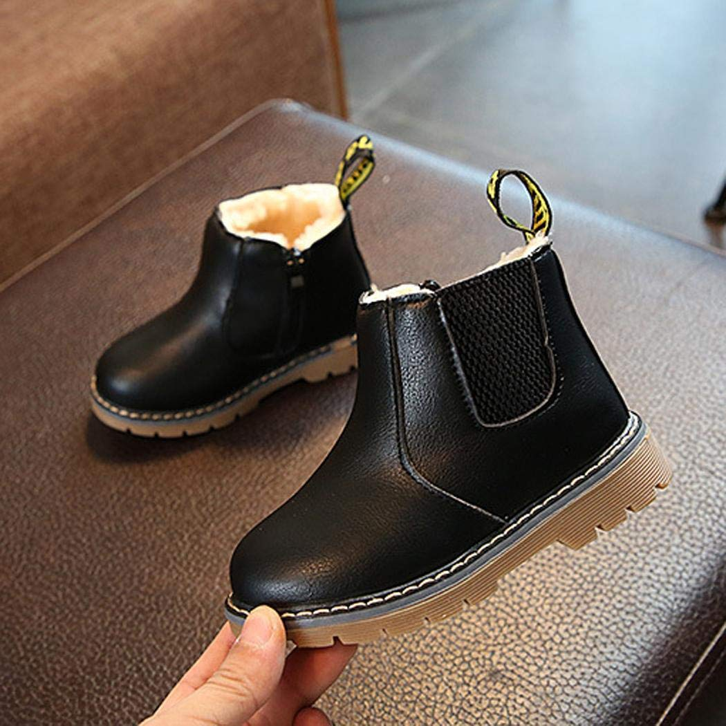Sasarh Boys Fashion Casual Non-Slip Thicken Martin Boots Waterproof Toddler Shoes Boots