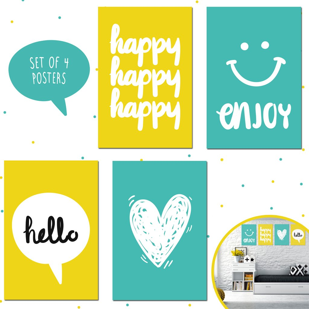 Set of Four 11X17 Motivational Posters, Perfect for Bedroom Decorating Ideas for Kids, Girls, and Teens Wall Art. Each Poster Printing Brings Aqua and Yellow Decor to Any Ambiance!