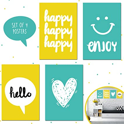 Set of Four 11X17 Motivational Posters, Perfect for Bedroom Decorating  Ideas for Kids, Girls, and Teens Wall Art. Each Poster Printing Brings Aqua  and ...