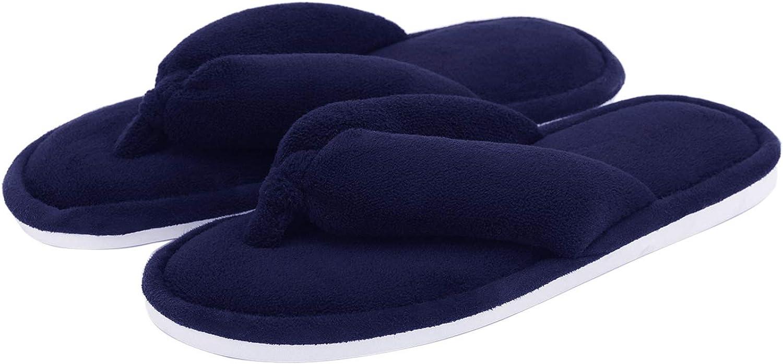 Indoor Thong Slippers for Women Open Toe Slide On, Plush Anti Slip Flip Flops