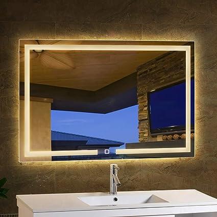 Miroir de salle de bain Moderne éLéGant à LED Miroir RéTro ...
