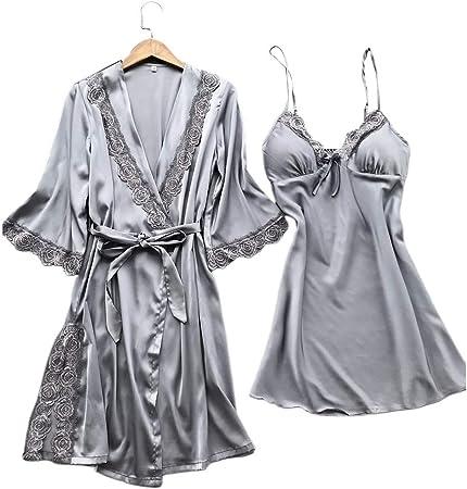 chenpaif Mujeres Imitación Seda Kimono Sexy Bata Camisón 2Pcs Conjunto de Ropa de Dormir Color sólido Floral Encaje Patchwork Pijama Camisola Camisón Plata L: Amazon.es: Hogar