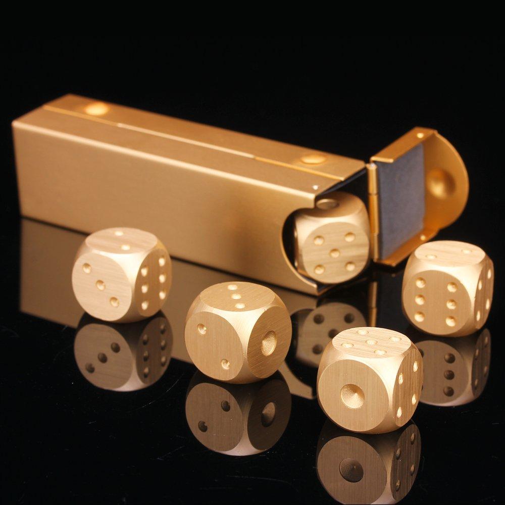 LZWIN 5 Stücke Würfeln Sammlung Set Präzision Aluminiumlegierung Gold Farbe Peststoffphase Würfel Männer Geschenk LZWIN TECH LZW16010501