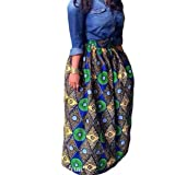 Women's African Print Pockets Maxi High Waist