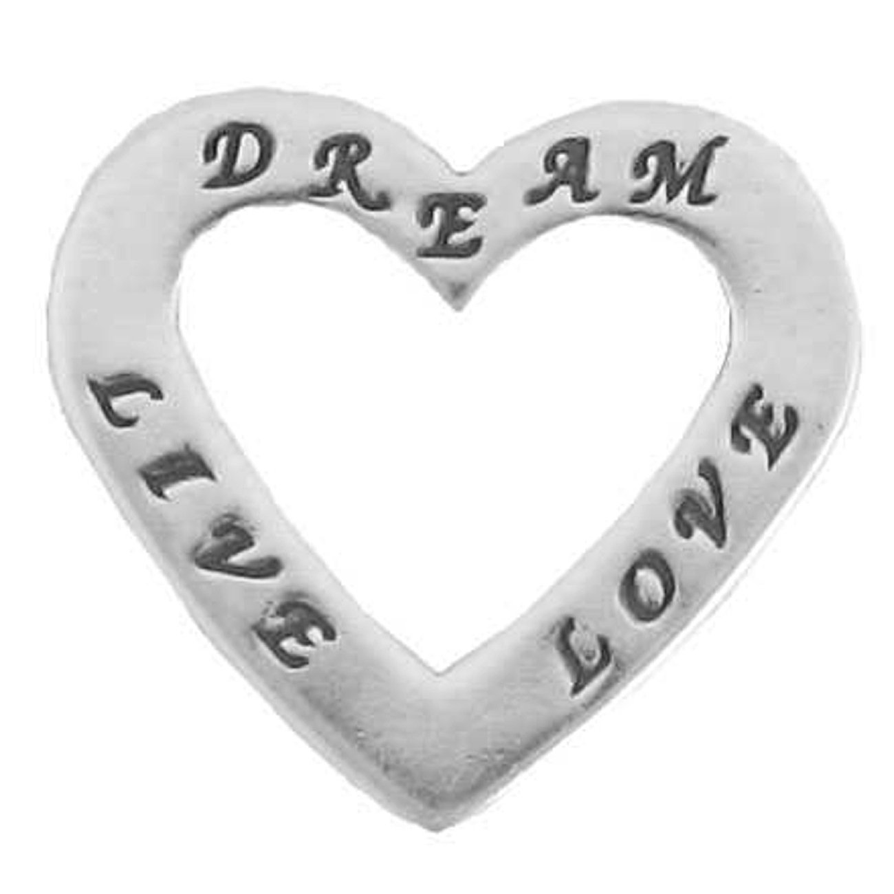 Sterling Silver 30'' Men's 1.5mm Two Sided LOVE LIVE DREAM Heart Shaped Slide Pendant Necklace