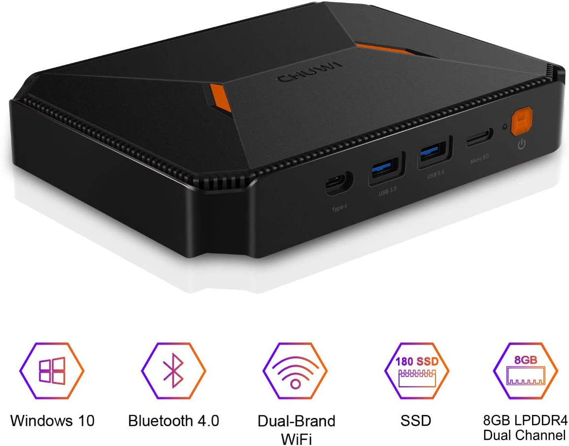 CHUWI HeroBox Windows 10 Mini PC,Intel Gemini-Lake N4100 Quad-Core processor,8GB DDR4 180GB SSD,Expandable 2TB 2.5 Inch HDD,1TB SSD with 2.4GHz/5GHz Dual WiFi 1000Mbps/BT4.2