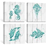 SUMGAR Bathroom Wall Art Beach Canvas Paintings Blue Ocean Pictures Rustic Coastal Decor Turquoise Prints Teal Starfish…