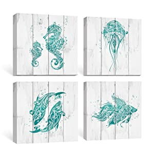 SUMGAR Bathroom Wall Art Beach Canvas Paintings Blue Ocean Pictures Rustic Decor Teal Coastal Turquoise Prints Nautical Starfish Seahorse Artwork 4 Piece Marine Theme Kids Room Decorations,12x12 inch