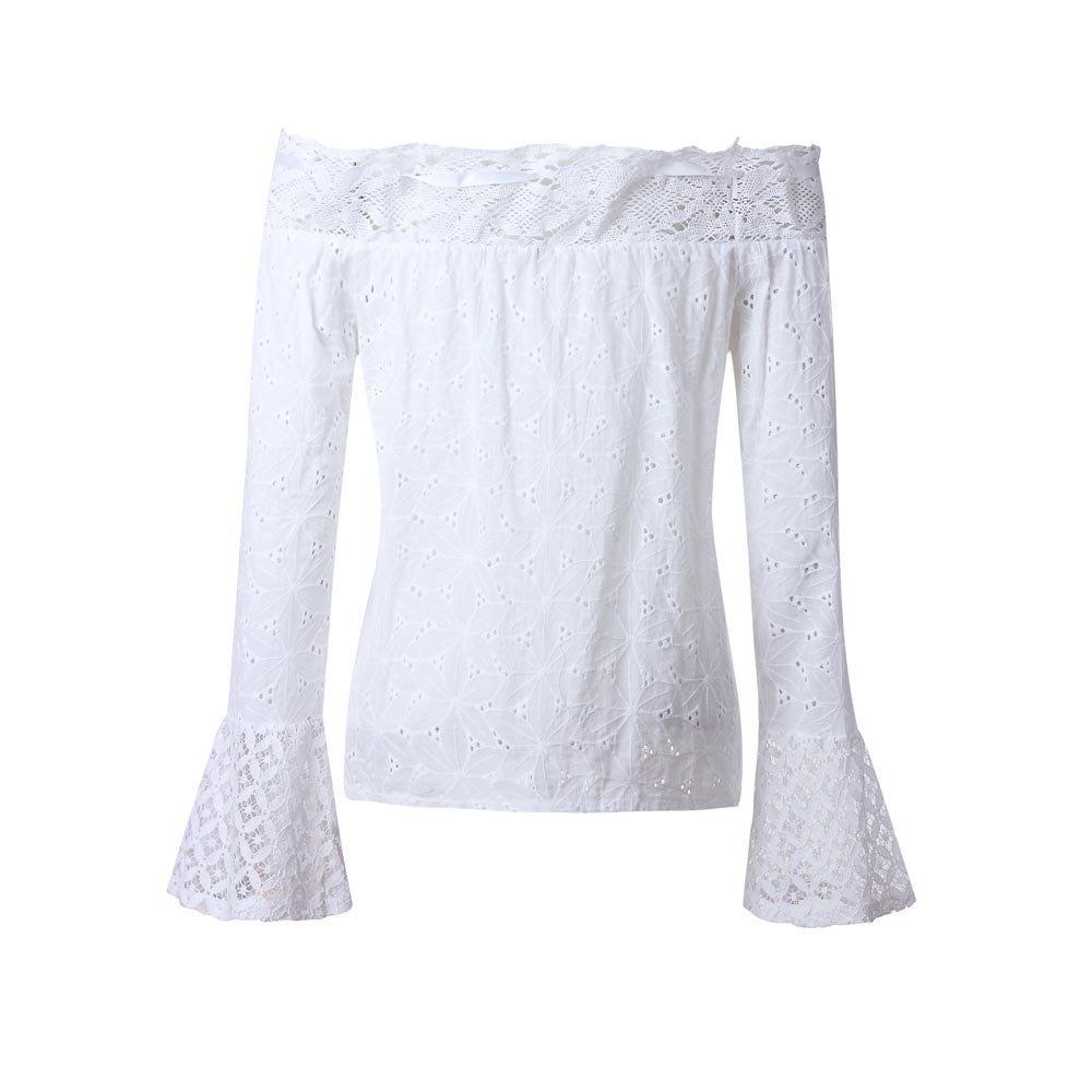 rocicaS Clearance Women's Long Sleeve Fashion Off Shoulder Lace Slash Neck Casual Pullover Blouses Top T-Shirt S-XXXL
