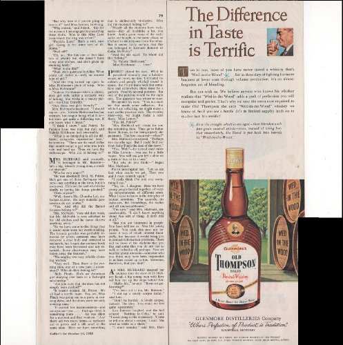 Old Thompson Brand Blended Whisky Difference In Taste 1955 Antique Advertisement