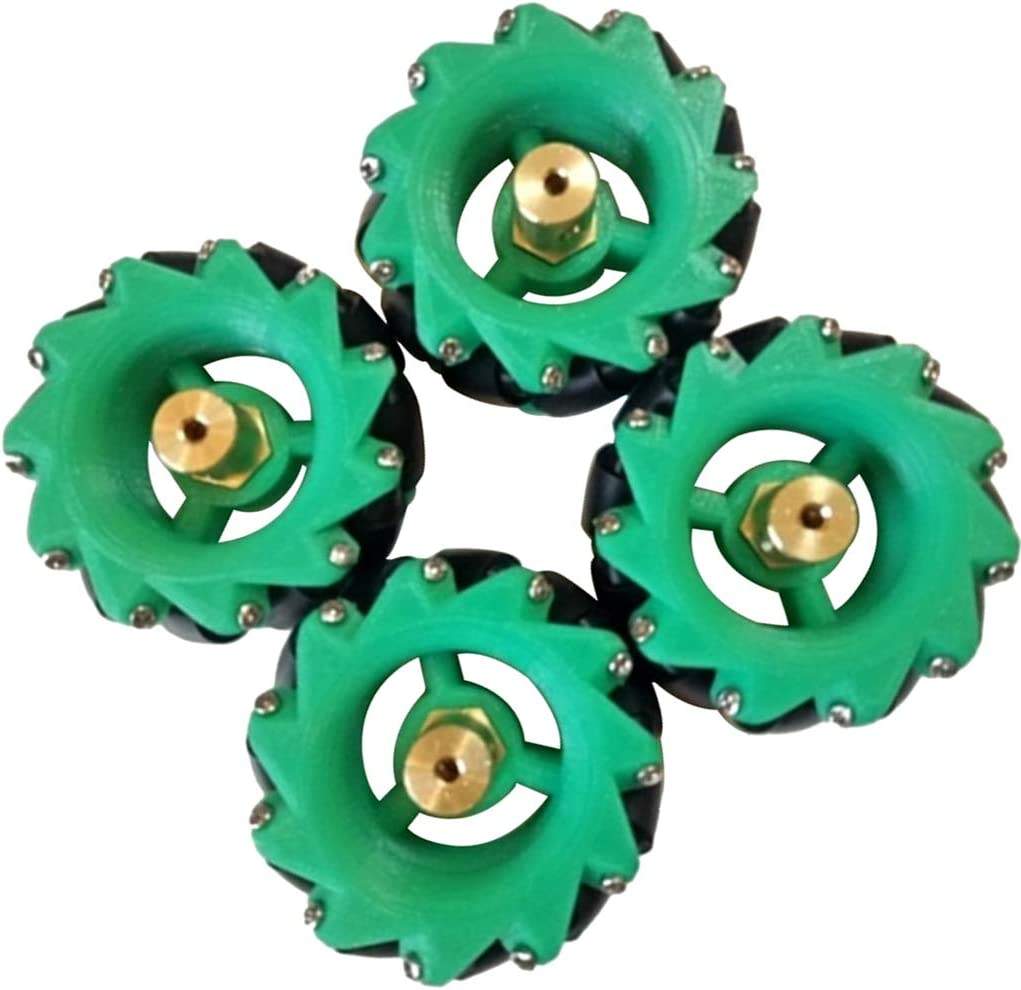 Mecanum Wheels Acrylic Wheel Diameter 40mm with Coupling Durable Green