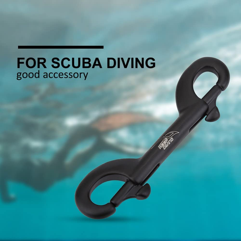 90mm-Black Durable Stainless Steel Double End Snap Bolt Scuba Diving Buckle for Underwater Diving Diving Hook