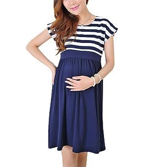 BESTHOO Embarazada Vestidos Mujer Spring Verano Ropa Maternidad Embarazada Vestidos Patchwork A Rayas Vestido Manga Corta Cuello Redondo: Amazon.es: Ropa y ...