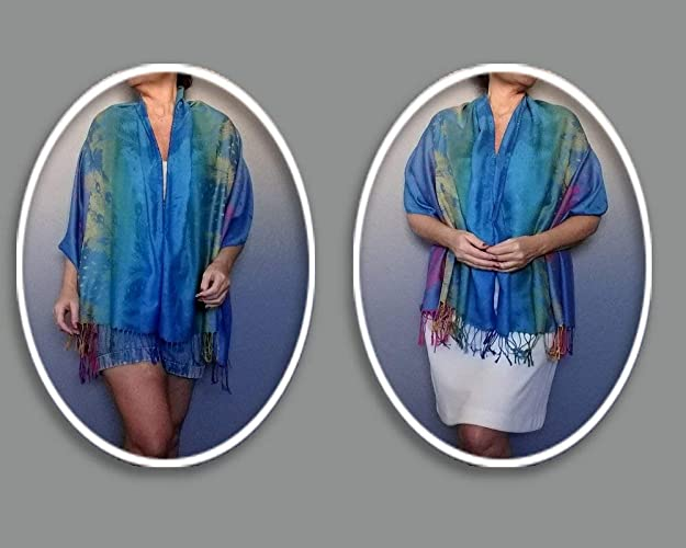 dbed27287820e Amazon.com  Plus Size Turquoise Rainbow Poncho Ombre Wrap Shawl By ZiiCi   Handmade